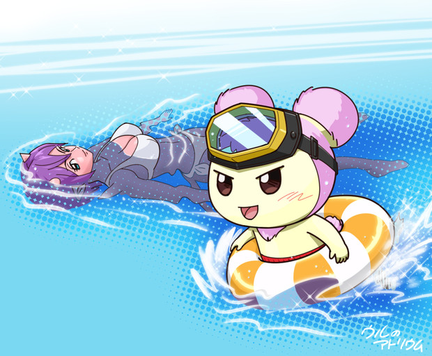 泳ぐウルとスマ