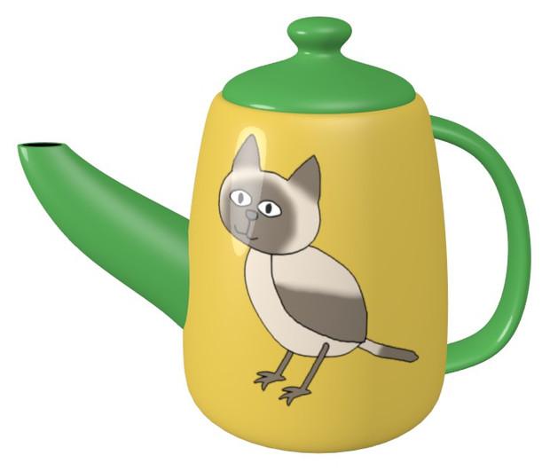 シャム猫鳥のティーポット