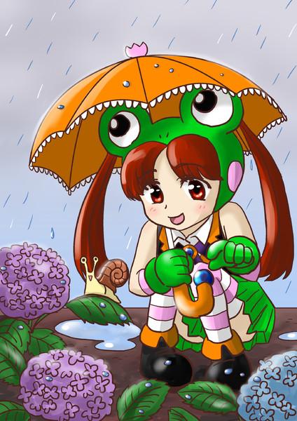 雨と紫陽花と蝸牛