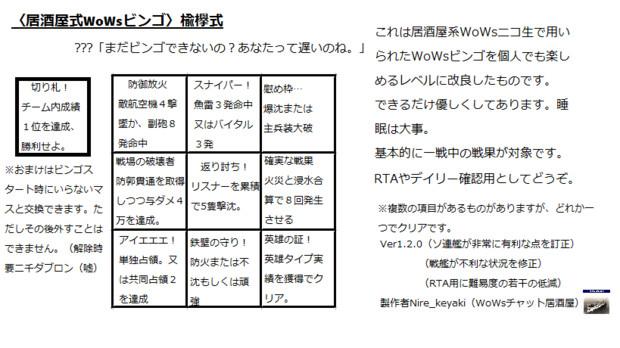 居酒屋式WoWsビンゴ 楡欅流 Ver1.2.0