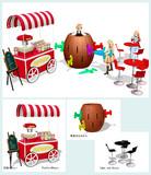 ポップコーンワゴンとおもちゃ