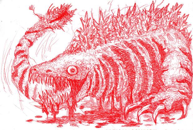 映画シン・ゴジラを見に行った興奮と勢いのまま赤鉛筆で第二形態ゴジラをかきなぐった(はずだった)