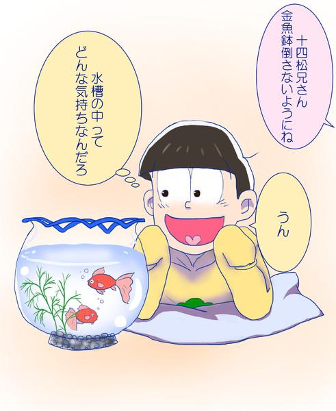 十四松と金魚鉢