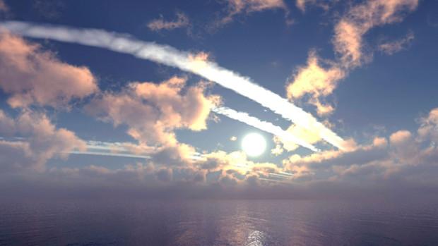 【MMDステージ配布】夕方の飛行機雲 TD6【スカイドーム】