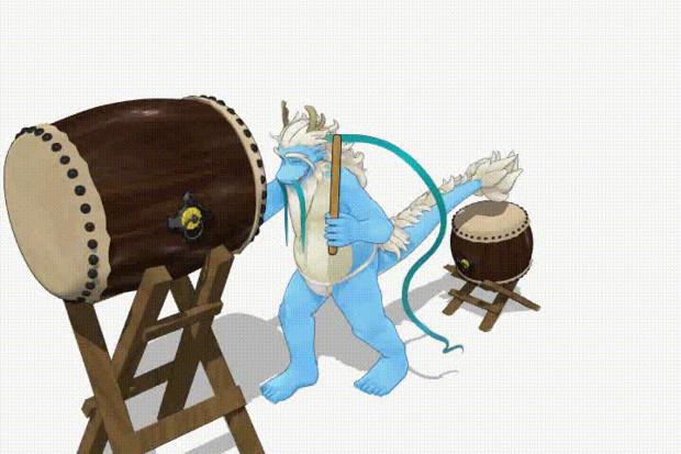 青龍さんが和太鼓を演奏(角度1)