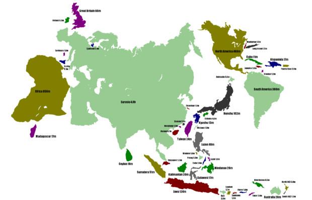 大陸・島の面積を人口に比例させてみた地図