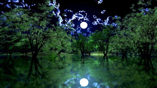 【MMDステージ配布】夜の水辺の公園 TJ9【スカイドーム】
