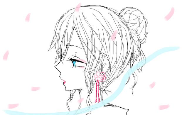 桜と横顔 琴羽 At 来世はイケボなイケメンに さんのイラスト ニコニコ静
