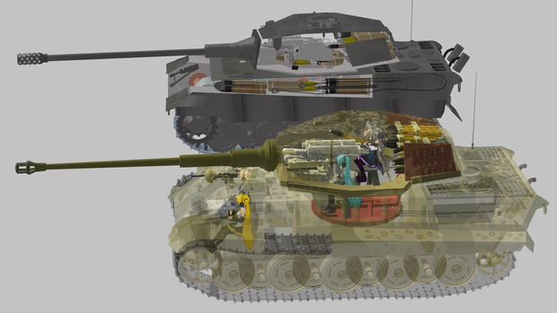 ティーガーⅡ進捗状況 16【副題 E-75モデルさんとツーショット