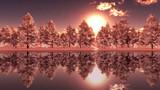 【MMDステージ配布】冬の夕方の森 TL1【スカイドーム】