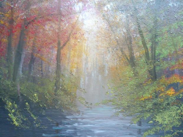 秋色の川辺