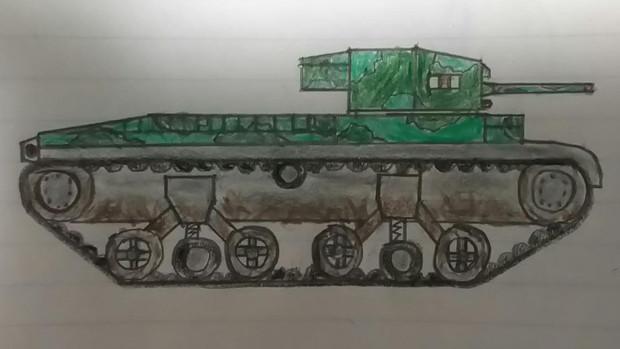 学校で書いた戦車③