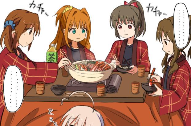 カニ鍋を食べるゼッケンズ