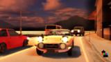 海沿い幹線道路の夕暮れ。