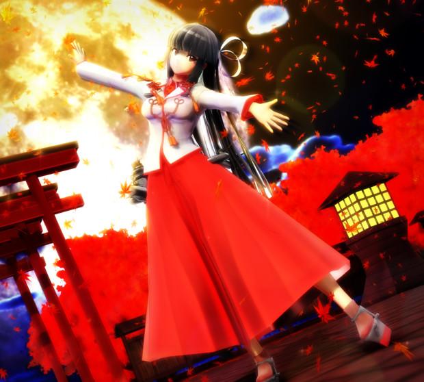 飛鷹と紅葉の舞