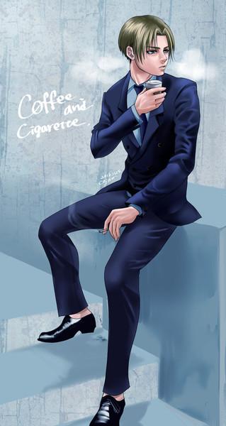 ダブルスーツでコーヒー飲む男 Roichi At こじ姐 さんのイラスト