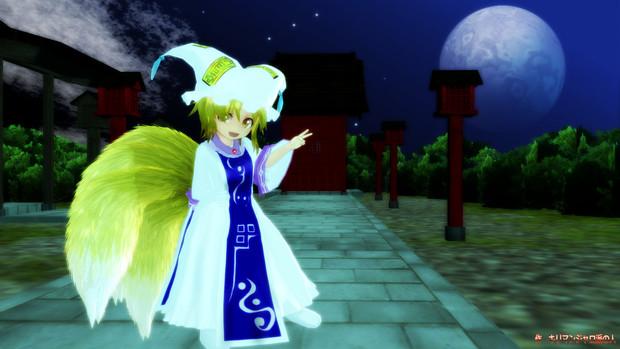 夜の小さな神社と幼少の藍しゃま