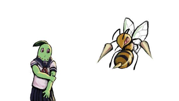 スズメバチに刺されるチコリーナ