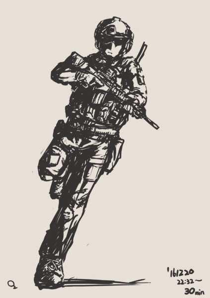 30分描き 現代兵士