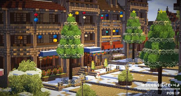 【Minecraft】クリスマス装飾された大通り