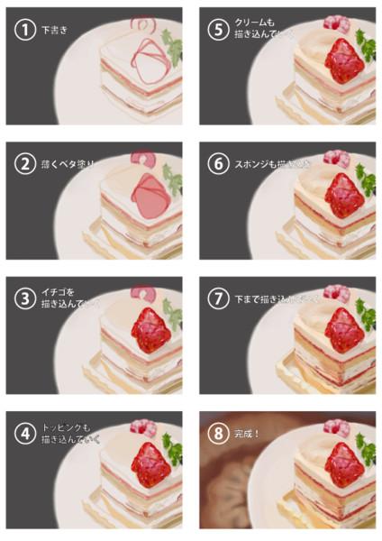 イチゴショートケーキ製作過程 楽家 さんのイラスト ニコニコ静画