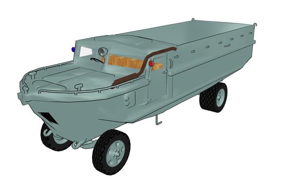 スキ型4輪駆動水陸両用車