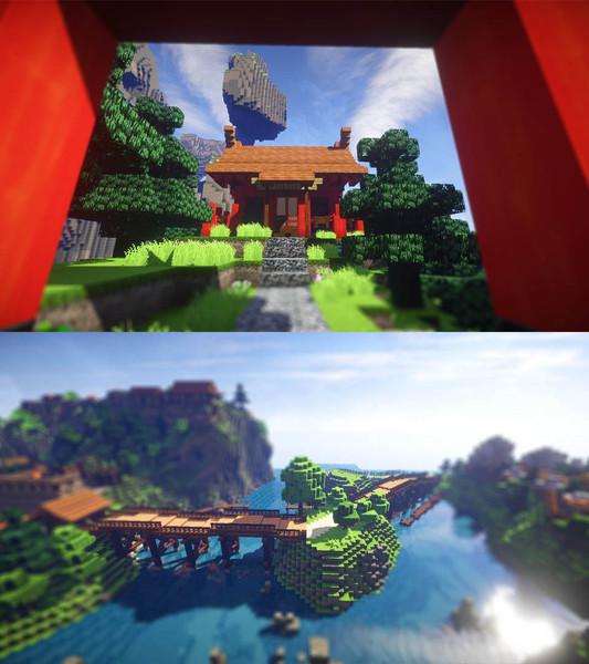 マイクラ神社と橋