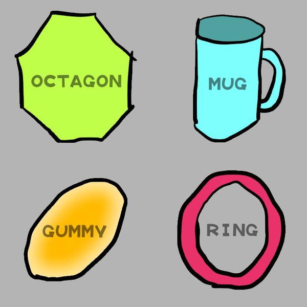 ハマグリ (八角形、マグカップ、グミ、リング(輪))