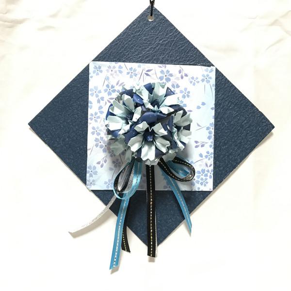 ☆折り紙☆夜桜の壁飾り☆ブルー☆