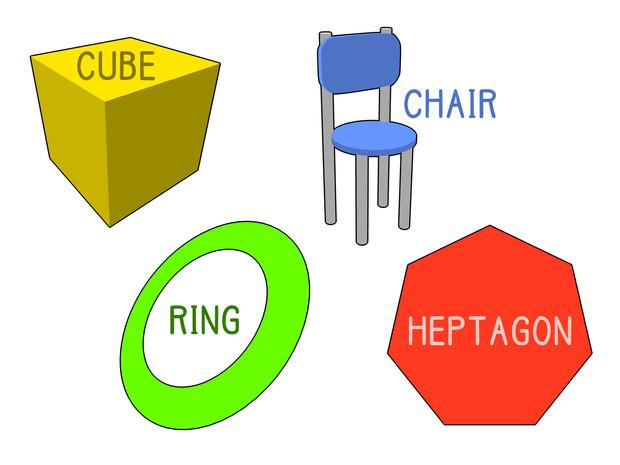 立方体、リング、イス、七角形