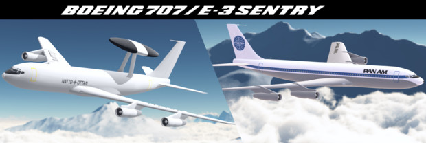 【配布】E-3 AWACS&B707-320【MMDモデル】