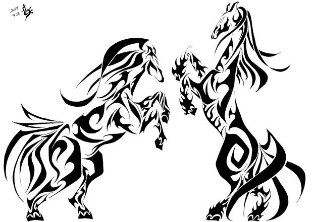 トライバル 馬2頭 Lorry Rolly さんのイラスト ニコニコ静画 イラスト