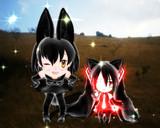 ブラックサーバルちゃん と黒謎ちゃん(*^▽^*)