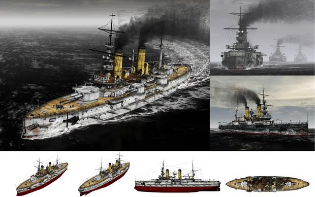 MMD用モブ前弩級戦艦1898(ペトロモブロフスク)セット