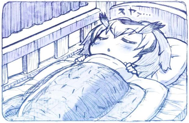 満腹になったので眠りにつくコノハ博士
