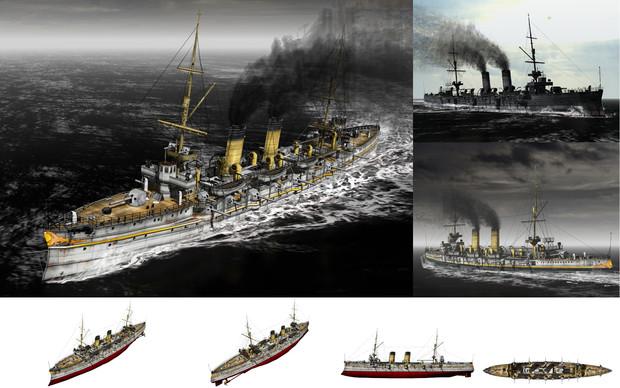 【MMD-OMF7】MMD用モブ防護巡洋艦1894(モブズウィック)セット