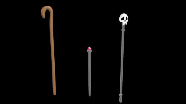 【MMDモデル配布】安物の杖セット【OMF7】