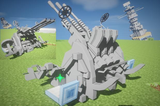 #Minecraft 96式25mm三連装機銃が完成 #JointBlock