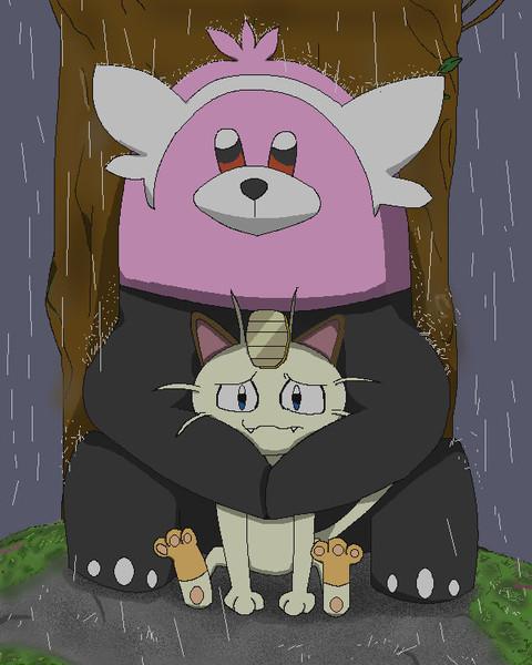 ニャースとキテルグマ