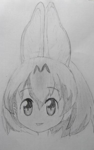 サーバルちゃん例の顔(メモ張鉛筆書き)