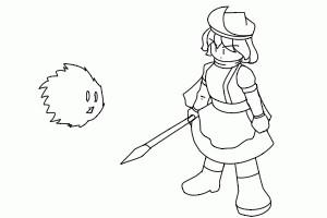 【GIF】毛玉と戦闘
