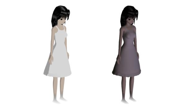 ある動画用の白いワンピースの少女の幽霊素材