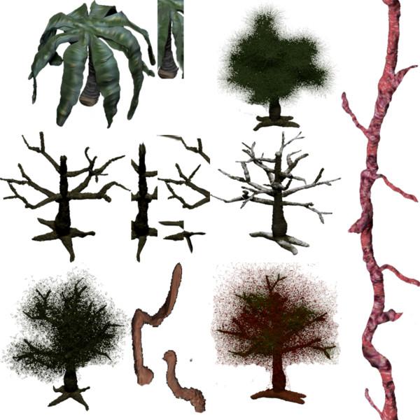 【ホラーゲーム素材コンテスト】不気味な木々【タイルセット】
