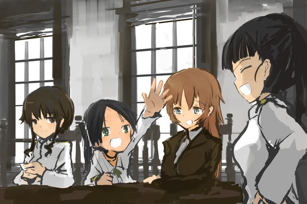 竹井とルッキーニとシャーリーと坂本