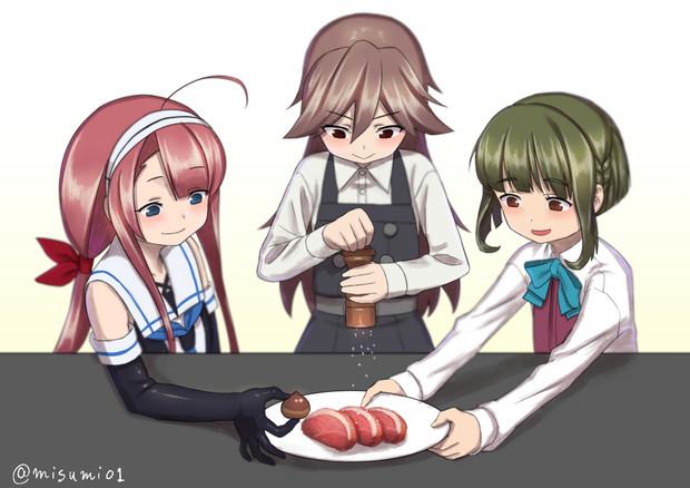 合作料理をする駆逐艦たち