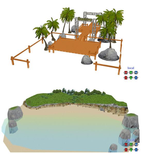 Beehive島とヤシの木ステージ モデル配布