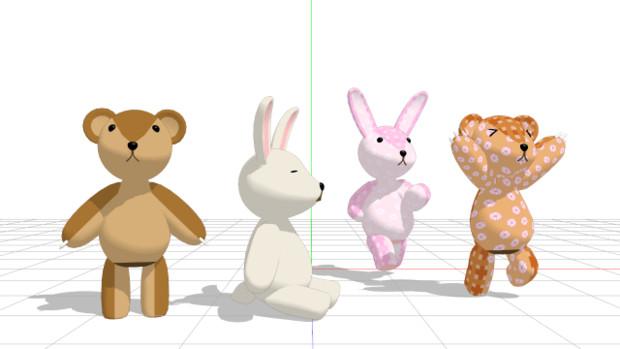 【MMD】ウサギとクマのぬいぐるみ【モデル配布】