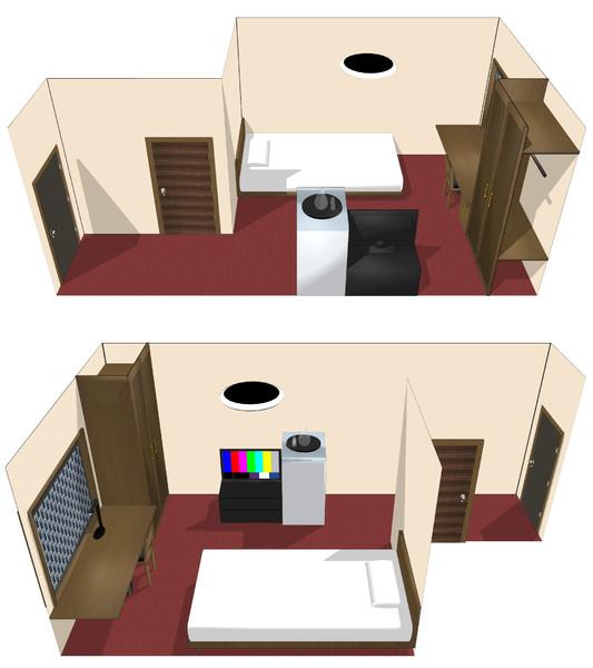 【MMDモデル配布】普通に狭いビジネスホテルのシングル部屋