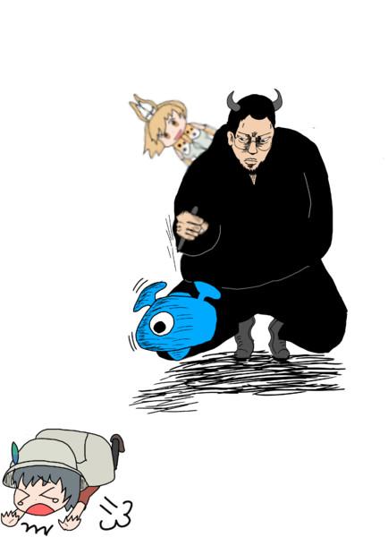 セルリアンに襲われそうになったかばんちゃんを得意のペン技で助けるウシのフレンズ