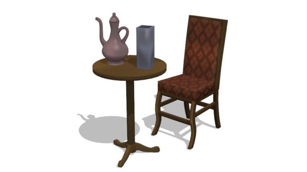 【MMDアクセサリ配布】テーブル&椅子
